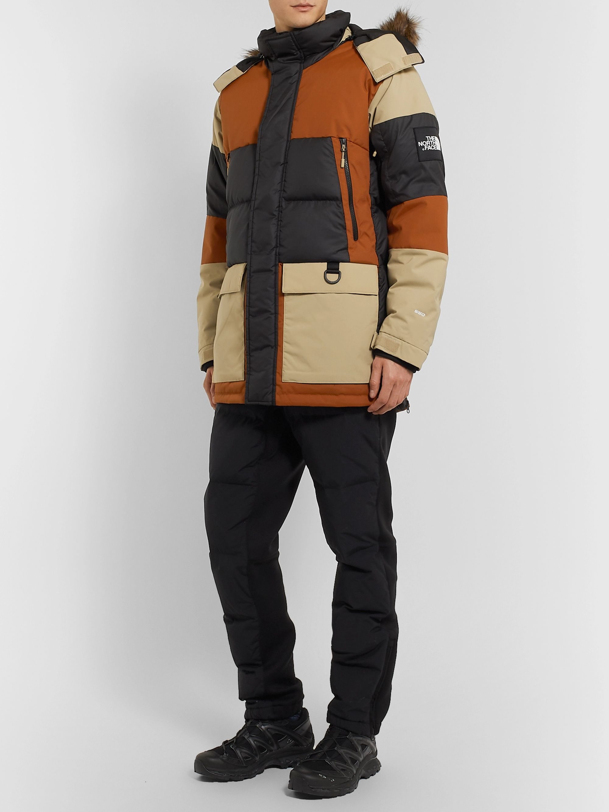 The North Face V-Stok Faux Fur-Trimmed Colour-Block Quilted Shell Hooded Down Parka
