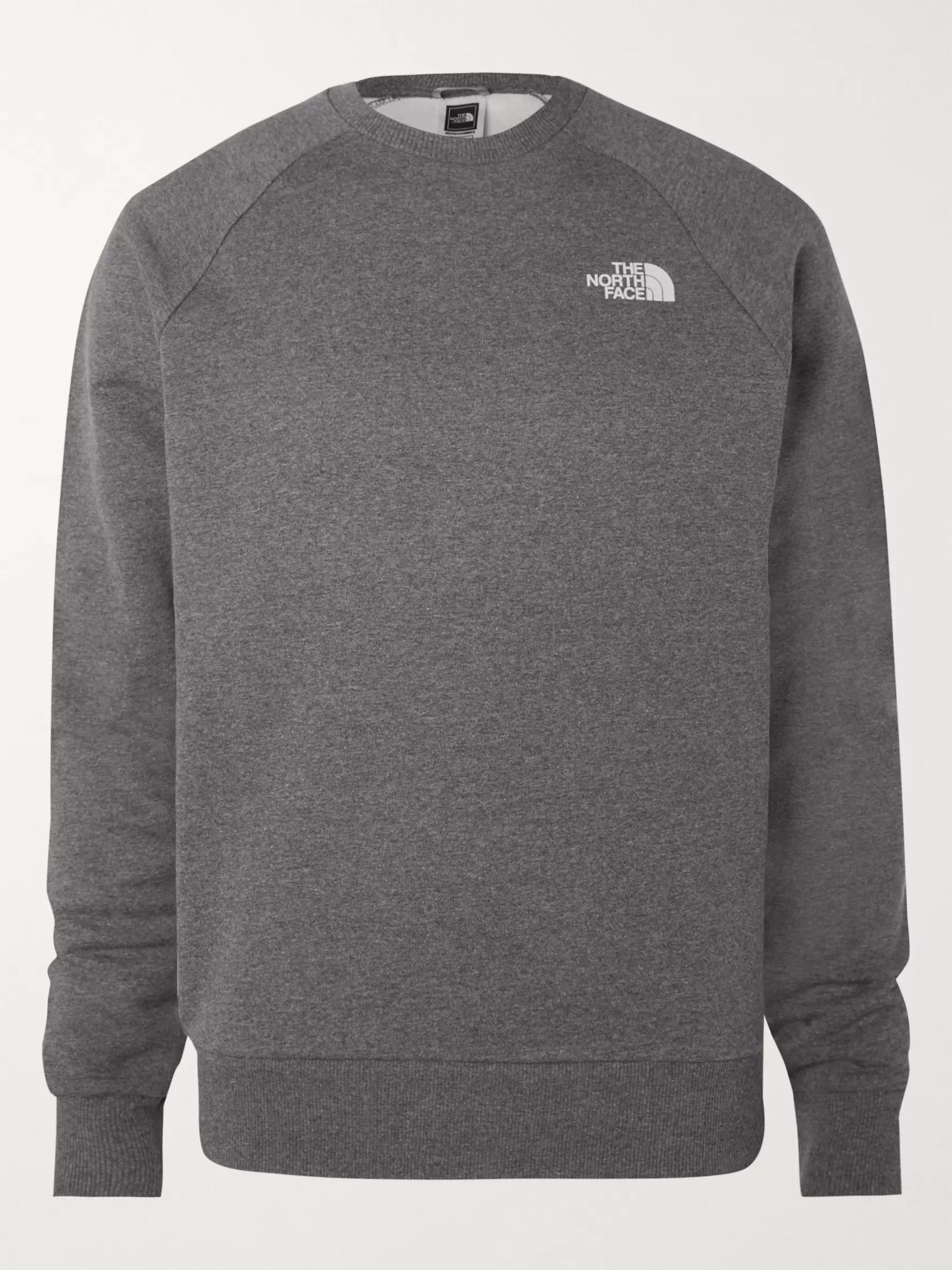 Logo Print Mélange Fleece Back Cotton Blend Jersey Sweatshirt