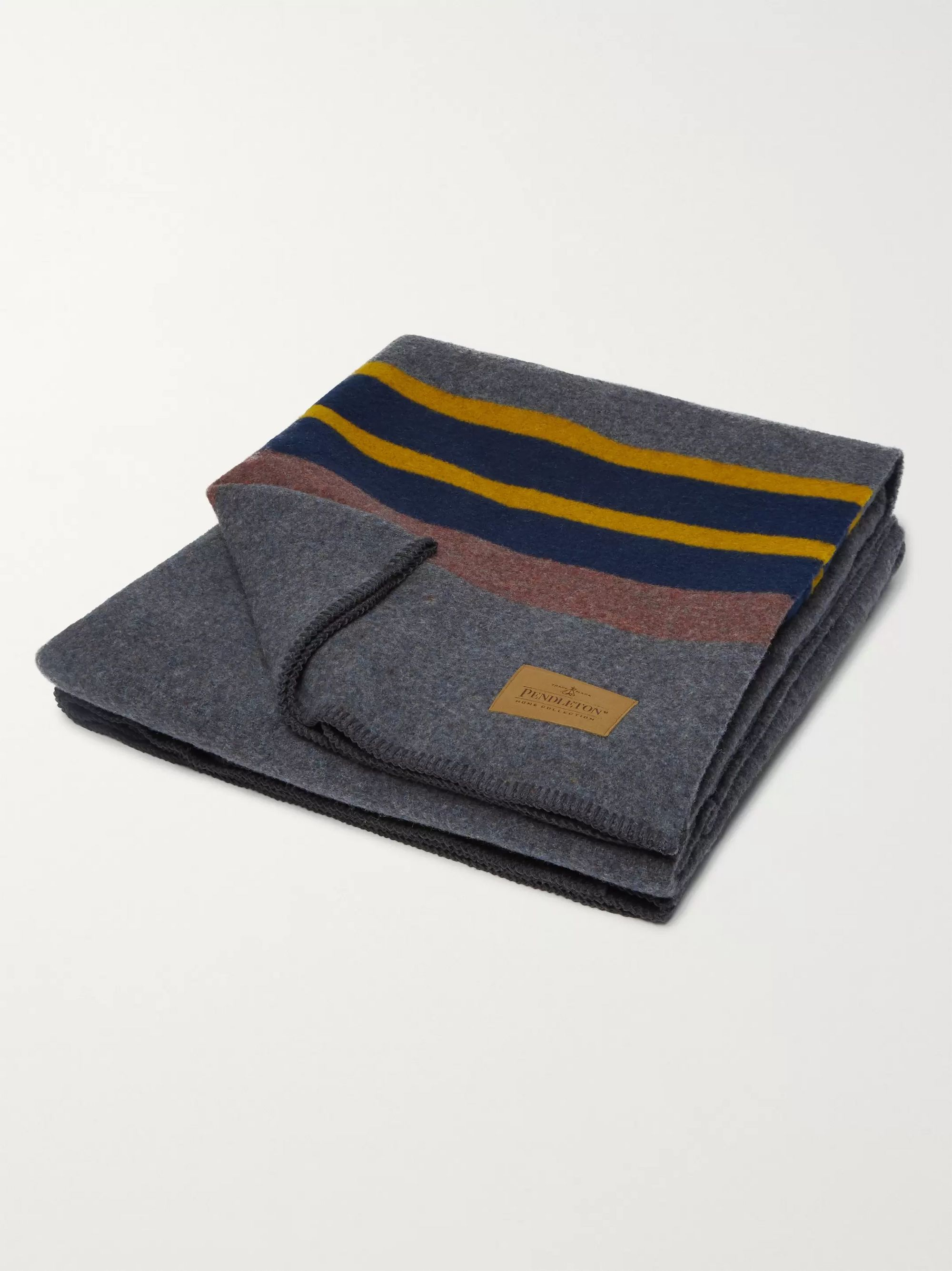 Pendleton Yakima Leather-Trimmed Striped Virgin Wool and Cotton-Blend Camping Blanket