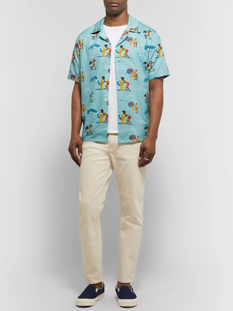 Aimé Leon Dore Block Party Camp-Collar Printed Cotton Shirt