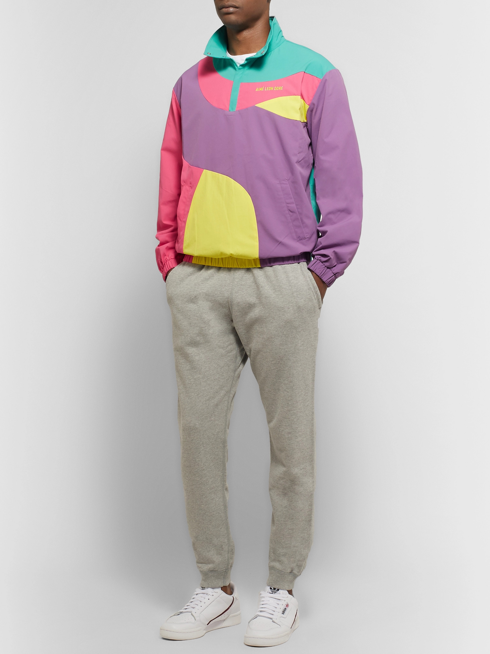 Aimé Leon Dore Logo-Embroidered Colour-Block Nylon Half-Zip Jacket