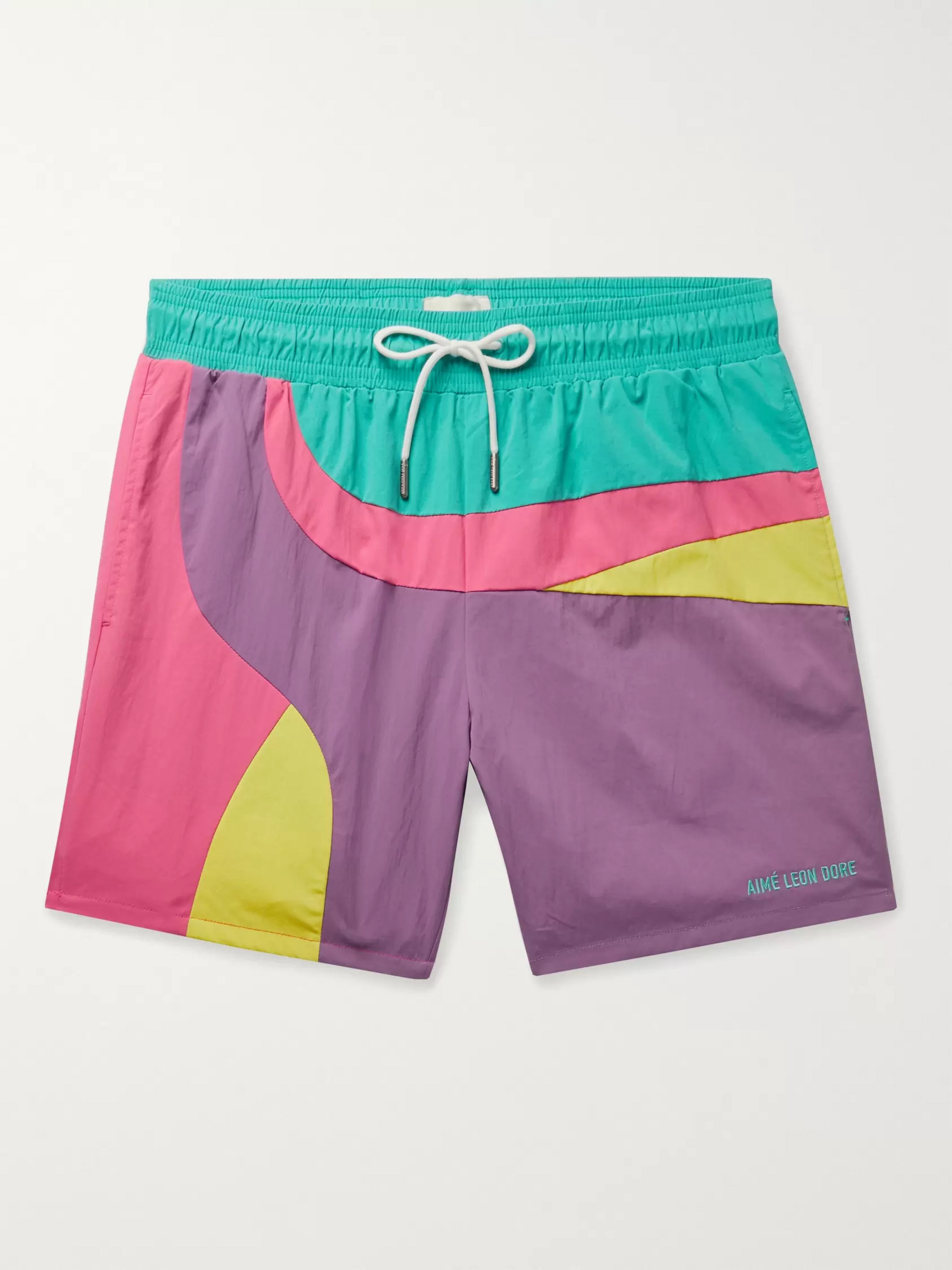 Aimé Leon Dore Logo-Embroidered Colour-Block Swim Shorts