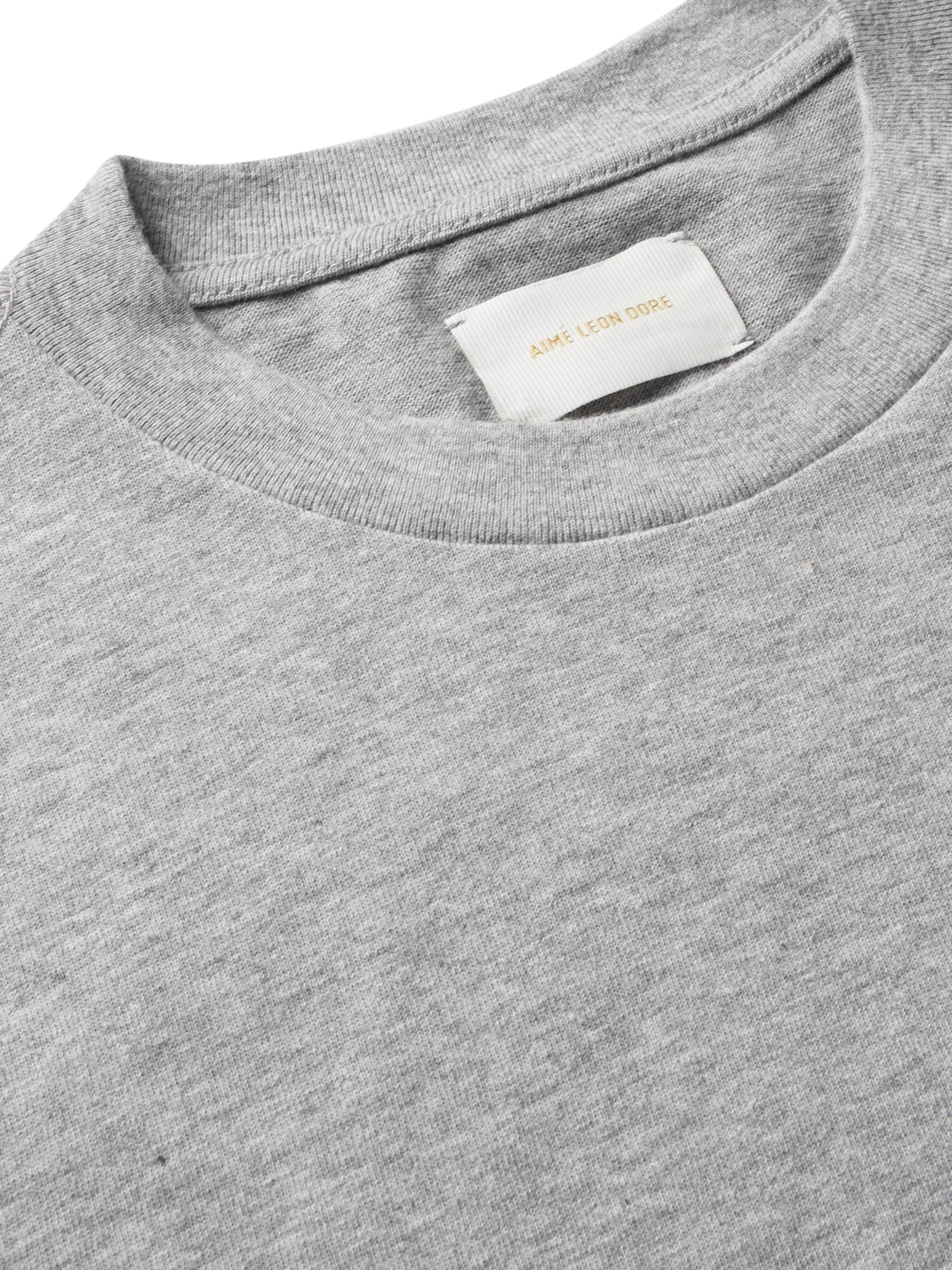 Aimé Leon Dore Logo-Embroidered Mélange Cotton-Jersey T-Shirt