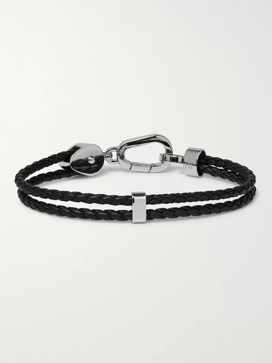 Montblanc Wrap Me Braided Leather and Stainless Steel Bracelet