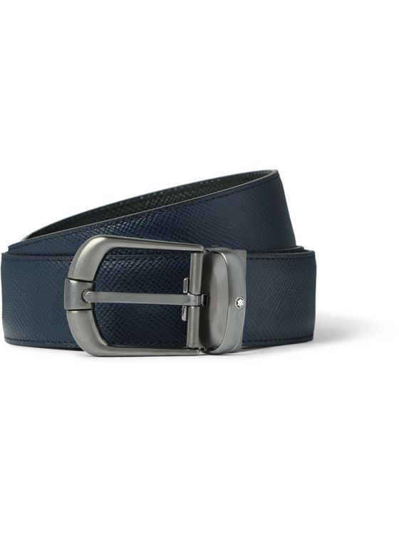 Montblanc 3.5cm Reversible Cross-Grain Leather Belt