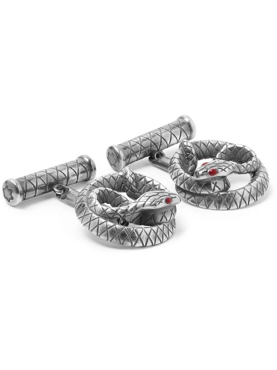 Montblanc Snake Engraved Sterling Silver Cufflinks