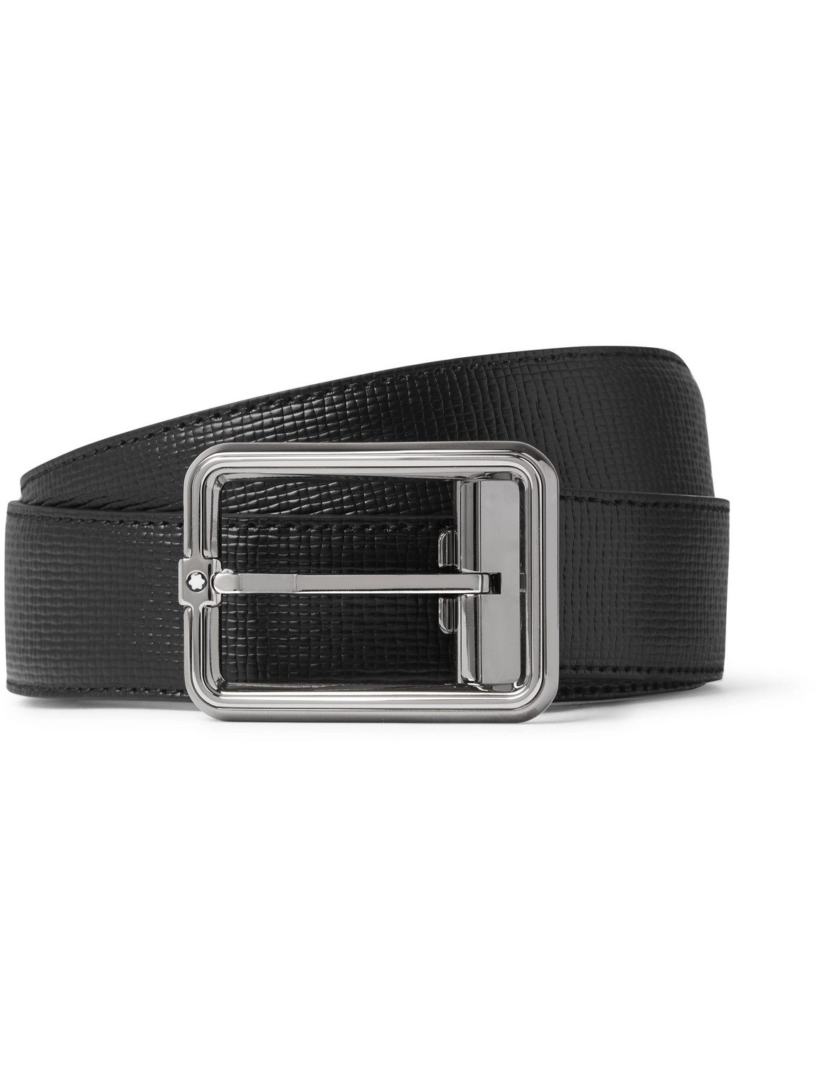 Montblanc 3cm Cross-grain Leather Belt In Black