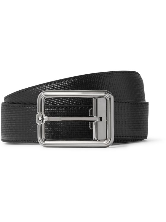 Montblanc 3cm Cross-Grain Leather Belt
