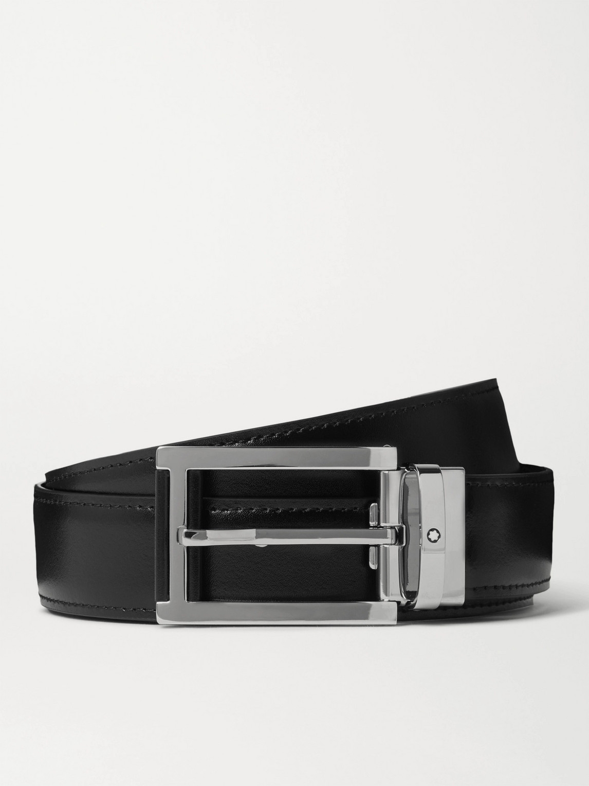 Montblanc 3cm Reversible Smooth And Textured-leather Belt In Black