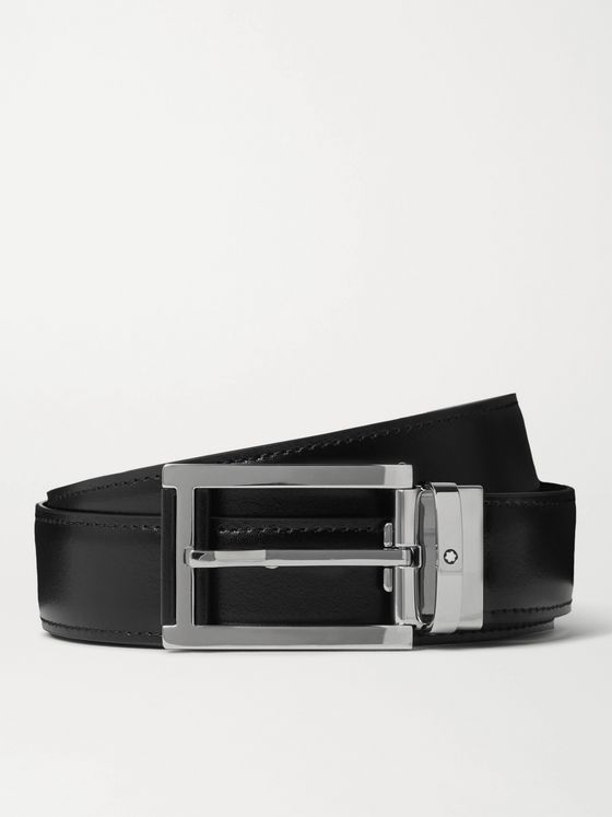 Montblanc 3cm Reversible Smooth and Textured-Leather Belt