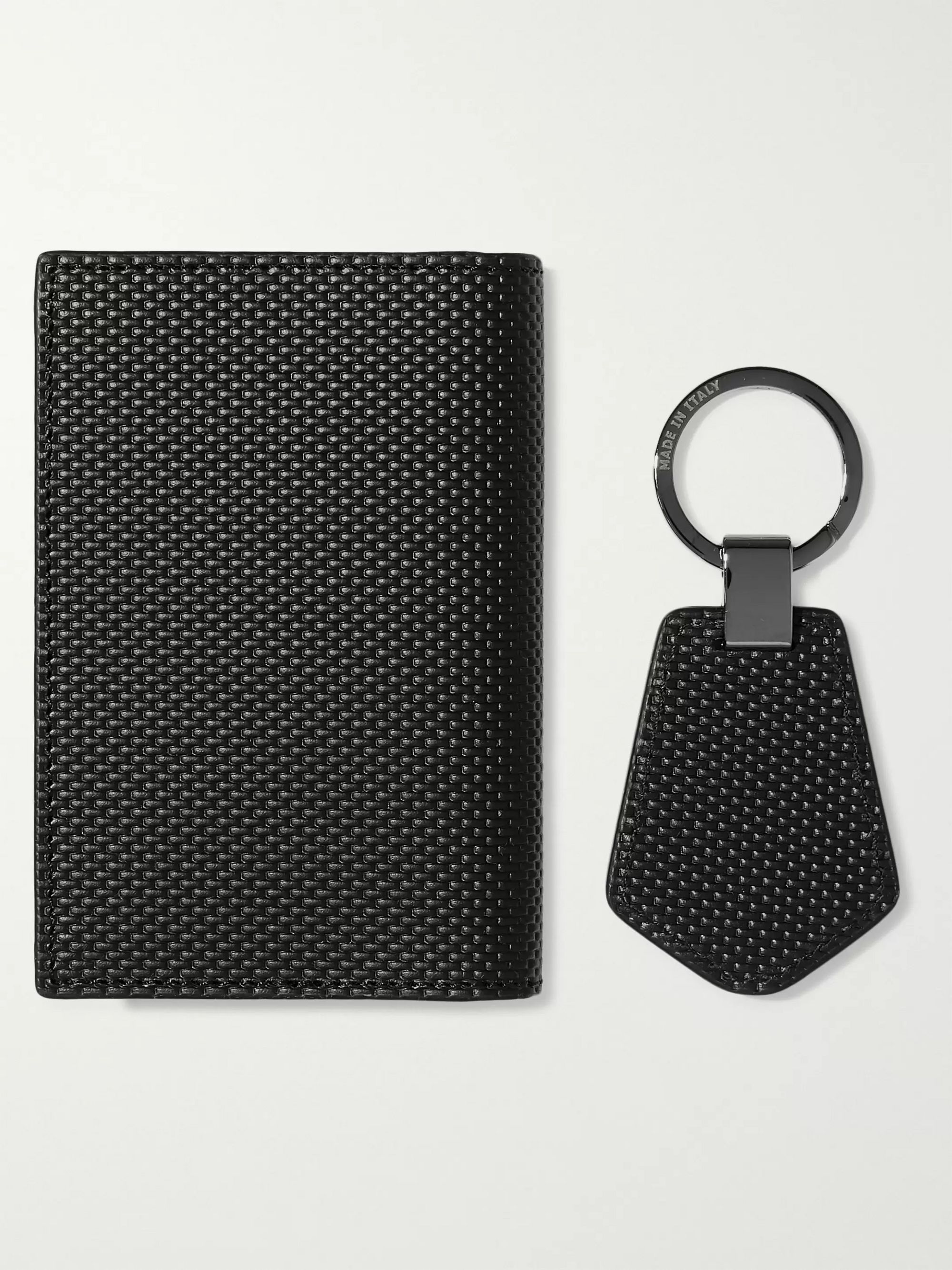 Montblanc Woven Leather Business Cardholder and Key Fob Gift Set