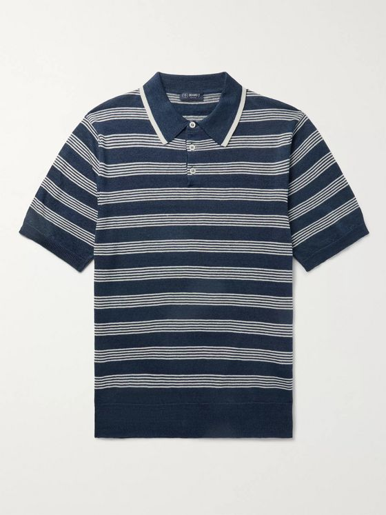 Beams F Striped Linen and Cotton-Blend Polo Shirt