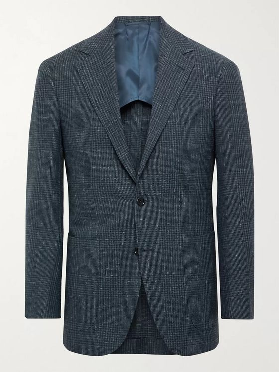 Beams F Slim-Fit Unstructured Prince of Wales Checked Wool, Cotton and Linen-Blend Blazer