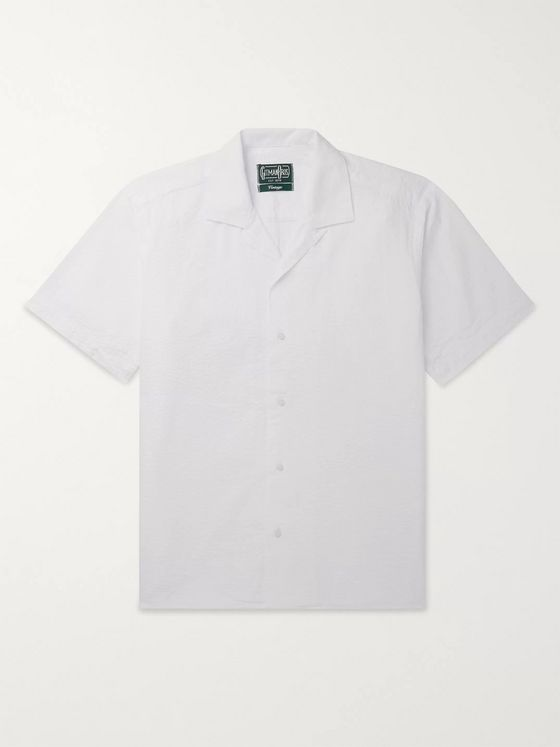 Gitman Vintage Convertible-Collar Cotton-Seersucker Shirt