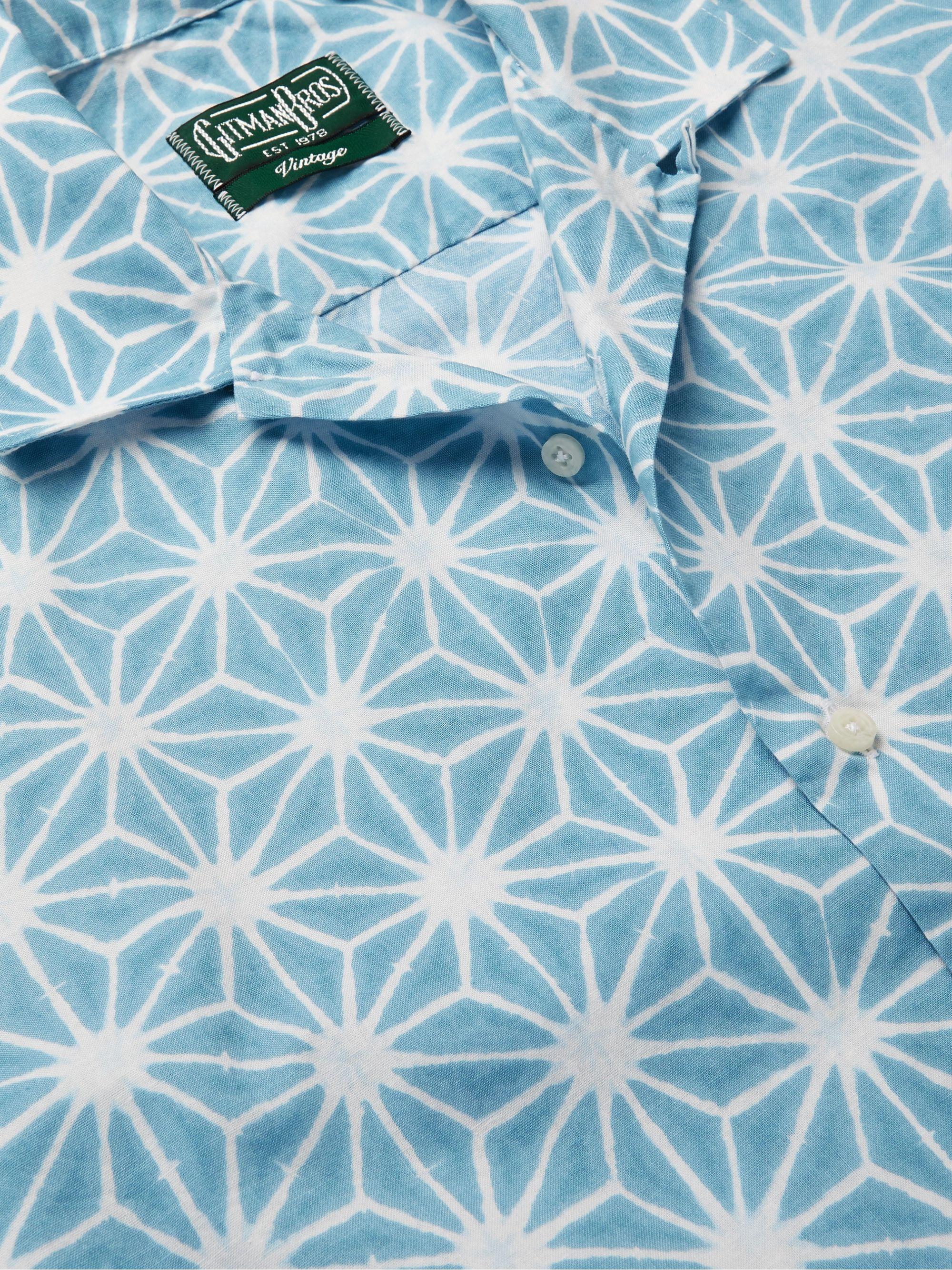 Blue Convertible-collar Printed Cotton Shirt | Gitman Vintage