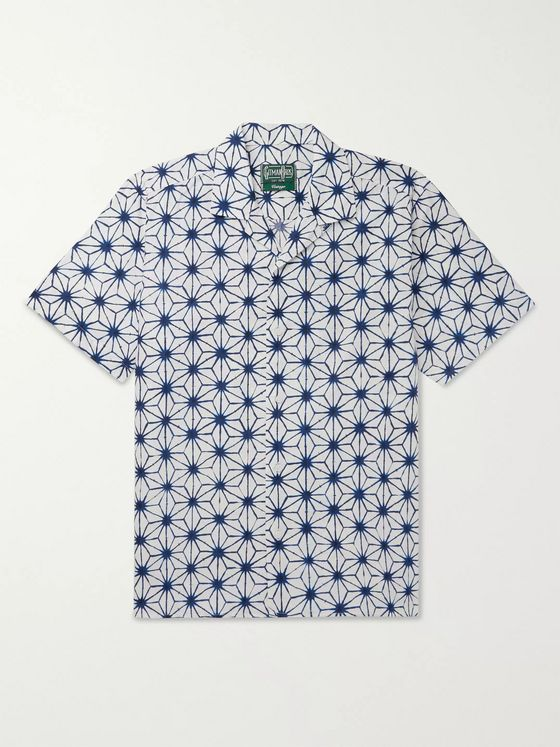 Gitman Vintage Convertible-Collar Printed Cotton Shirt