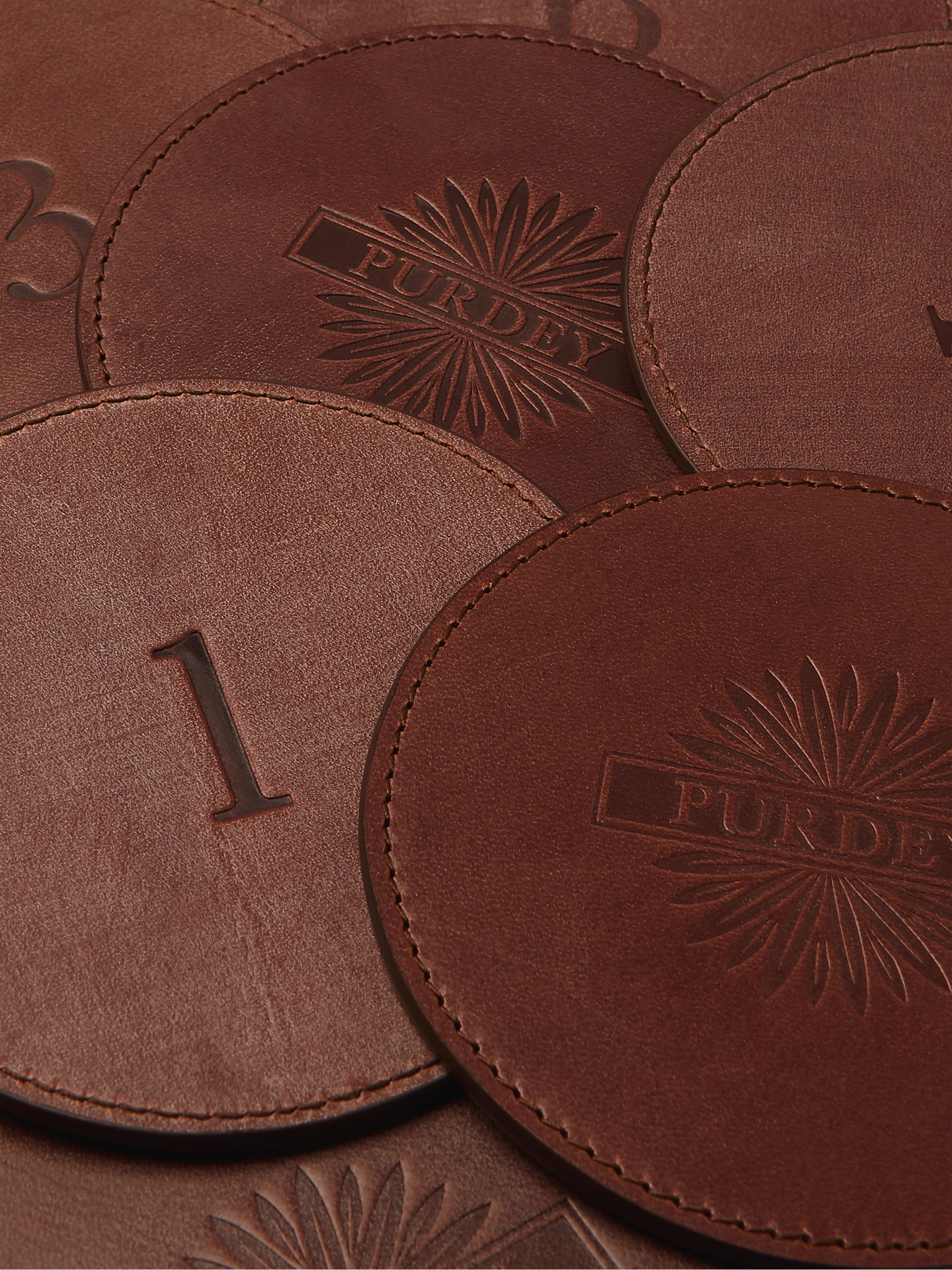 Purdey Set of 9 Leather Coasters