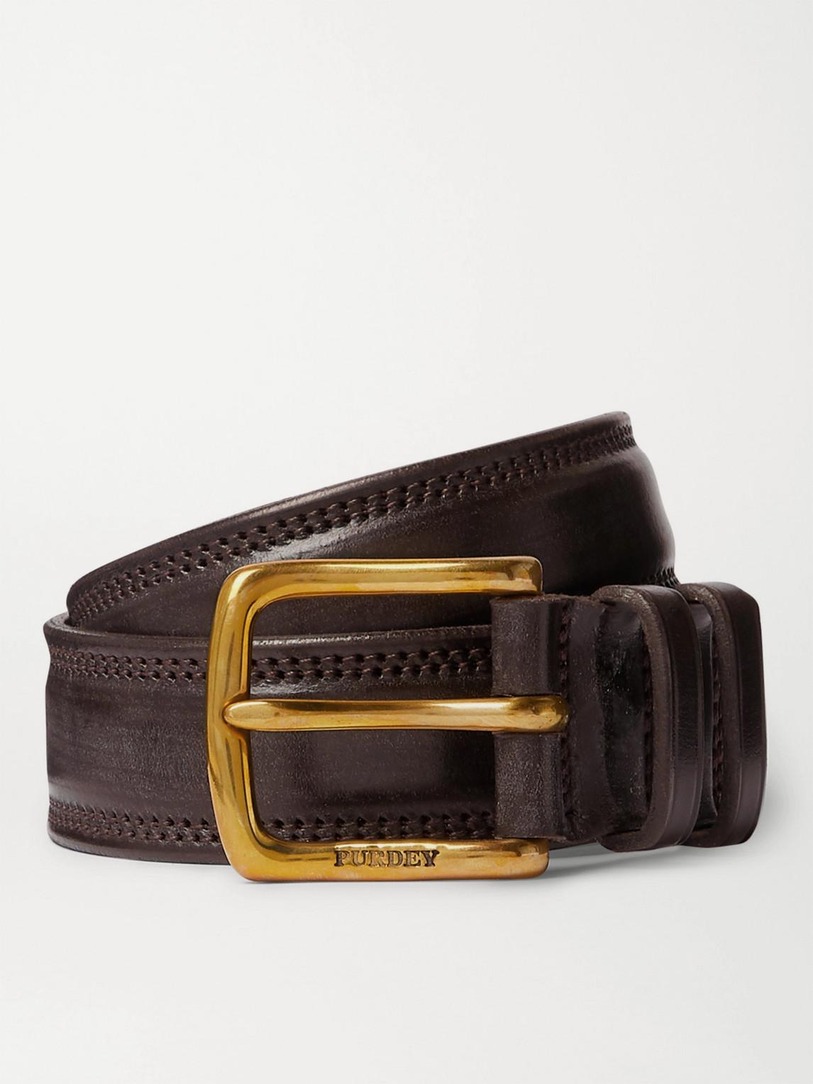 Purdey 4cm Leather Belt In Brown