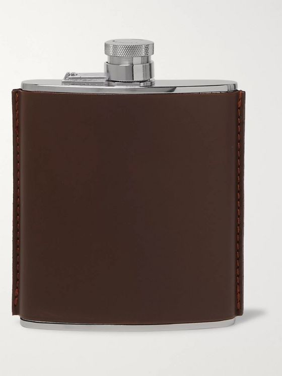 Purdey Leather and Stainless Steel Flask