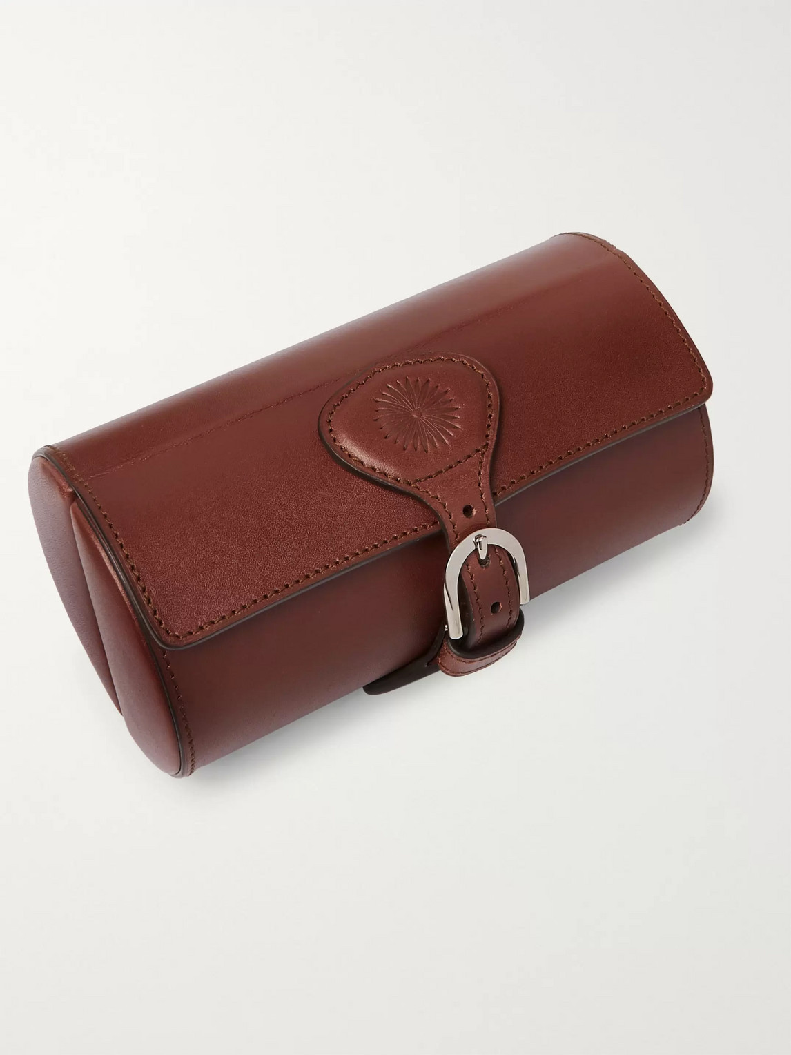 Purdey Travel Leather Double Watch Roll In Brown