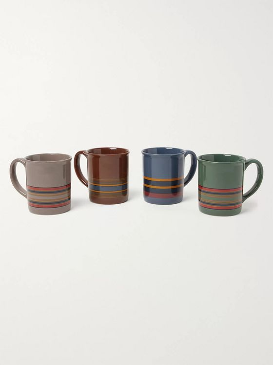 Pendleton Camp Stripe Set of Four Printed Ceramic Mugs