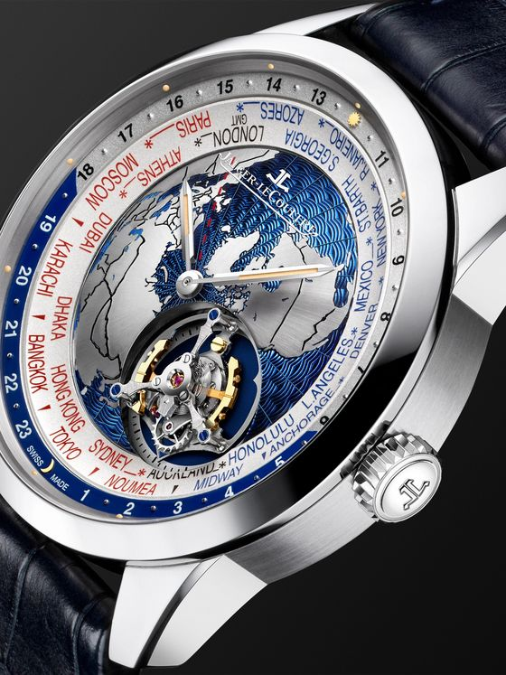 Jaeger-LeCoultre Geophysic Automatic Tourbillon 43.5 Platinum and Leather Watch, Ref. No. JLQ8126420