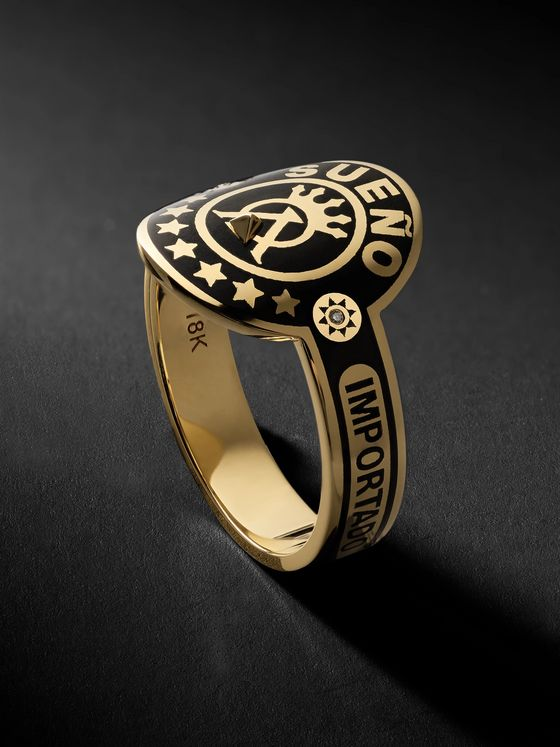 Foundrae Dream 18-Karat Gold, Enamel and Diamond Signet Ring