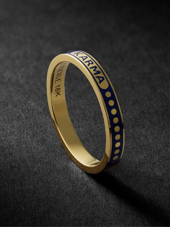 Foundrae Karma 18-Karat Gold and Enamel Ring