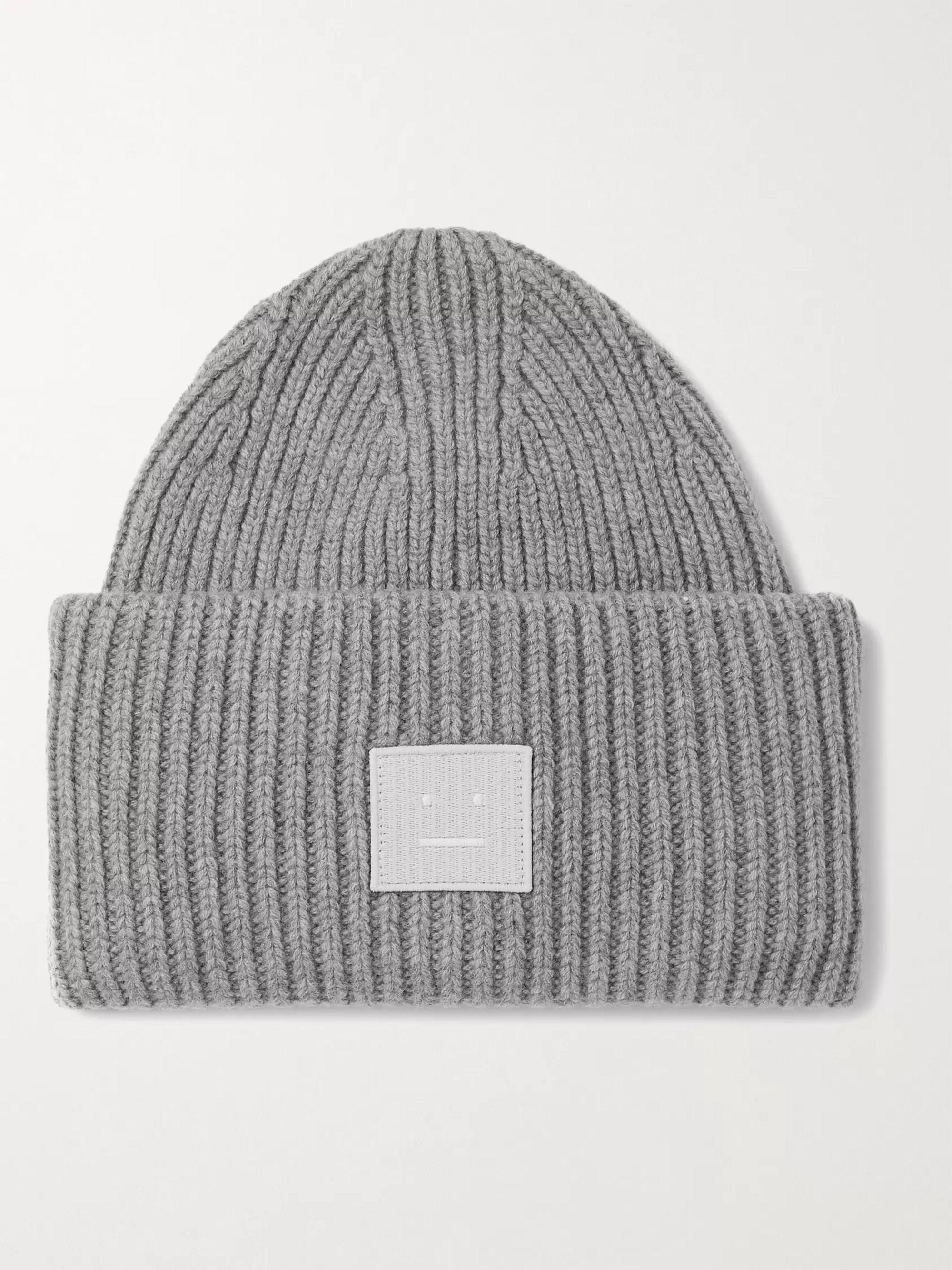 아크네 스튜디오 로고 울 비니 Acne Studios Logo-Appliqued Ribbed Wool Beanie,Gray