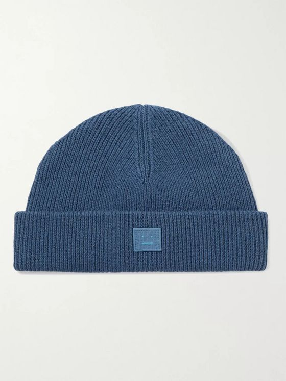 ACNE STUDIOS Logo-Appliquéd Ribbed Wool Beanie