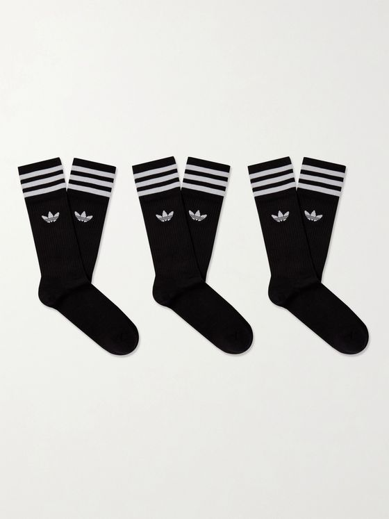 ADIDAS ORIGINALS Solid Crew Three-Pack Striped Cotton-Blend Socks