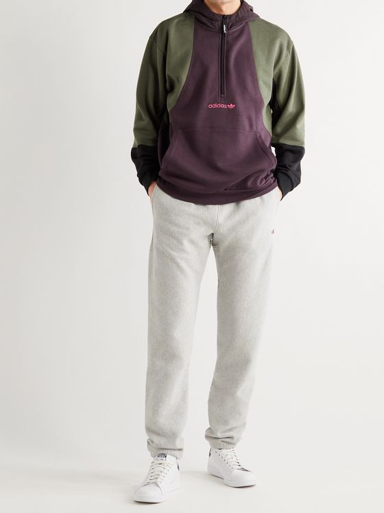 ADIDAS ORIGINALS Logo-Embroidered Colour-Block Fleece-Back Cotton-Blend Jersey Half-Zip Hoodie