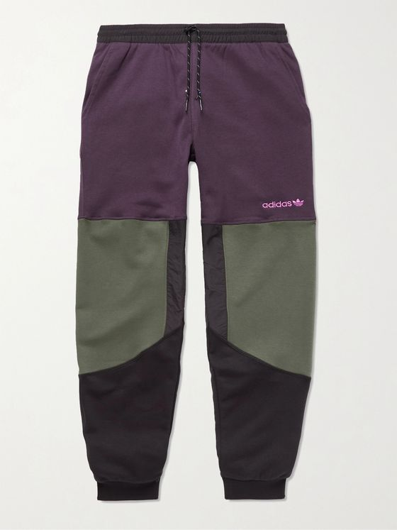 ADIDAS ORIGINALS Adventure Field Tapered Shell-Trimmed Fleece-Back Cotton-Blend Jersey Sweatpants