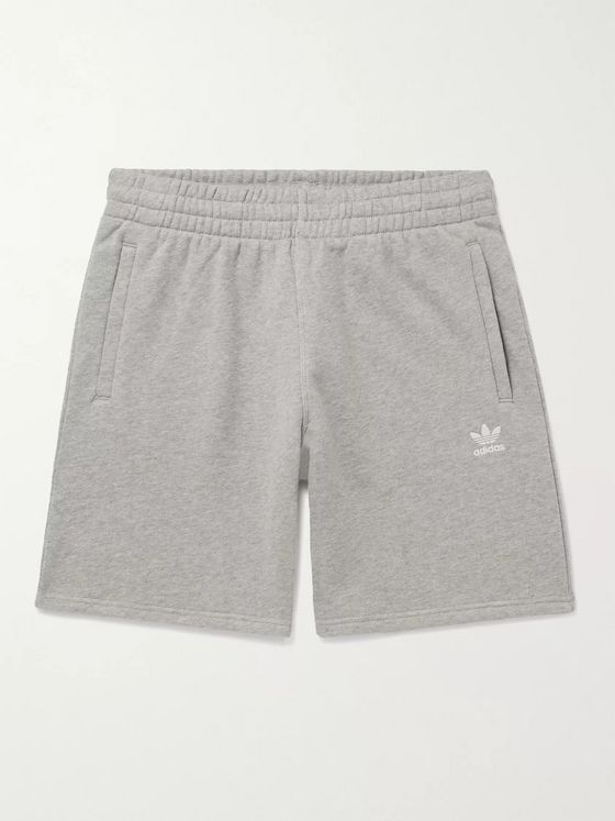 ADIDAS ORIGINALS Wide-Leg Logo-Embroidered Mélange Loopback Cotton-Jersey Shorts