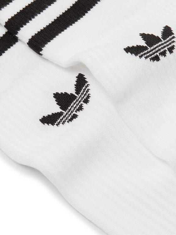 ADIDAS ORIGINALS Three-Pack Striped Cotton-Blend Socks