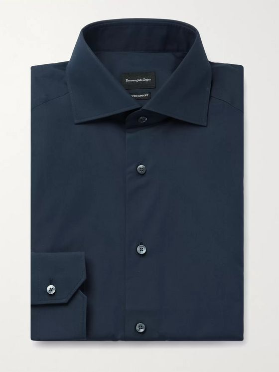 Ermenegildo Zegna Cutaway-Collar Cotton Shirt