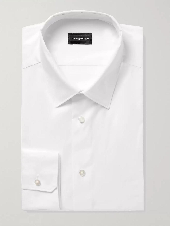 Ermenegildo Zegna Slim-fit Cotton-jacquard Shirt In White