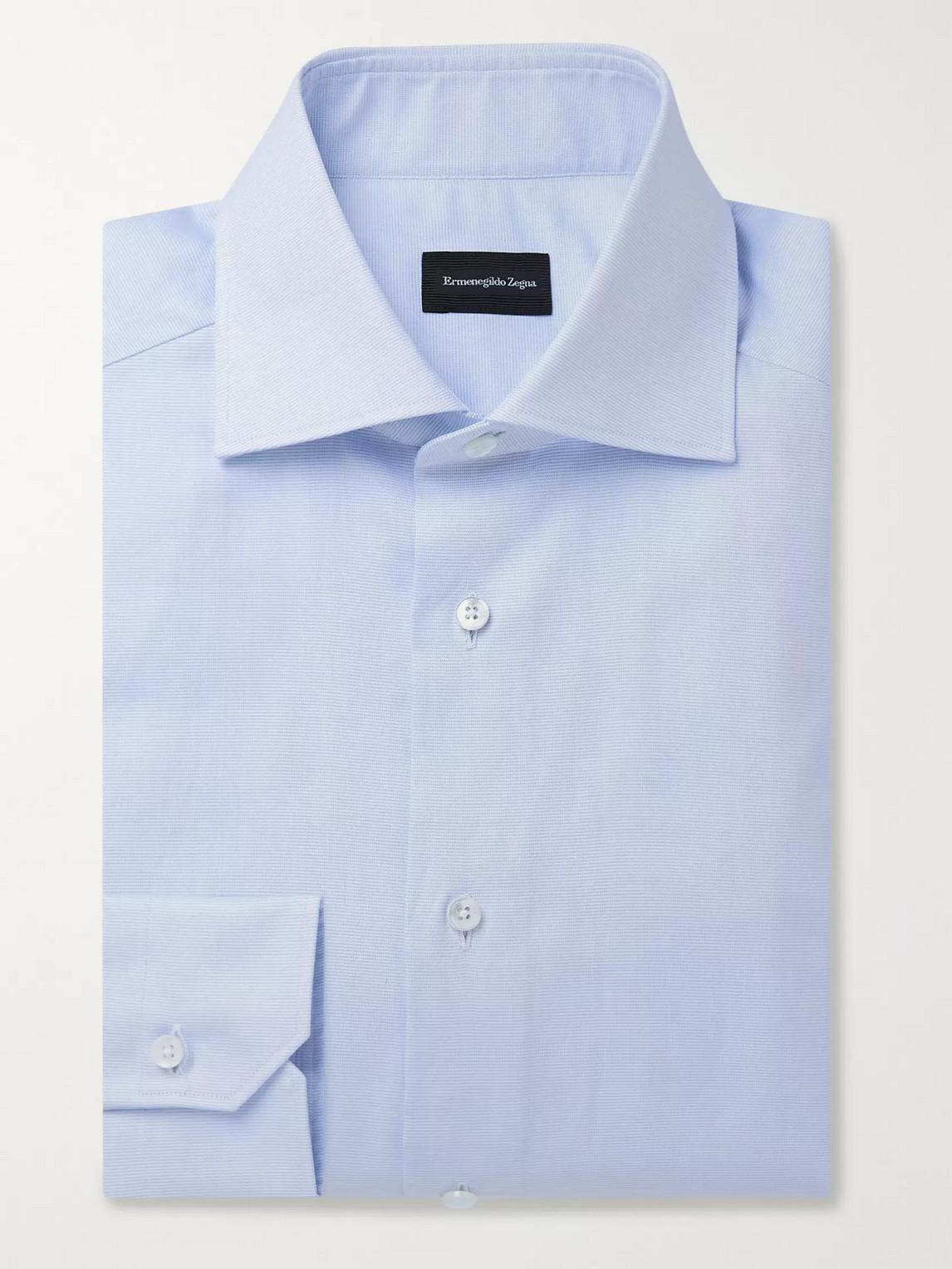 Ermenegildo Zegna Cutaway Collar Cotton-oxford Shirt In Blue