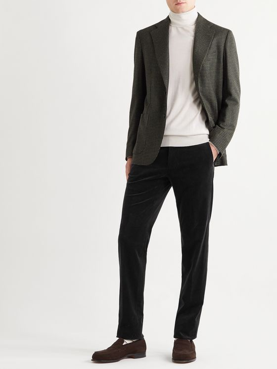 Ermenegildo Zegna Slim-Fit Stretch Cotton and Cashmere-Blend Corduroy Trousers