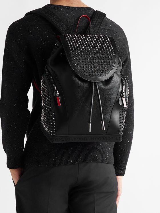 CHRISTIAN LOUBOUTIN Explorafunk Spiked Rubber-Trimmed Full-Grain Leather Backpack