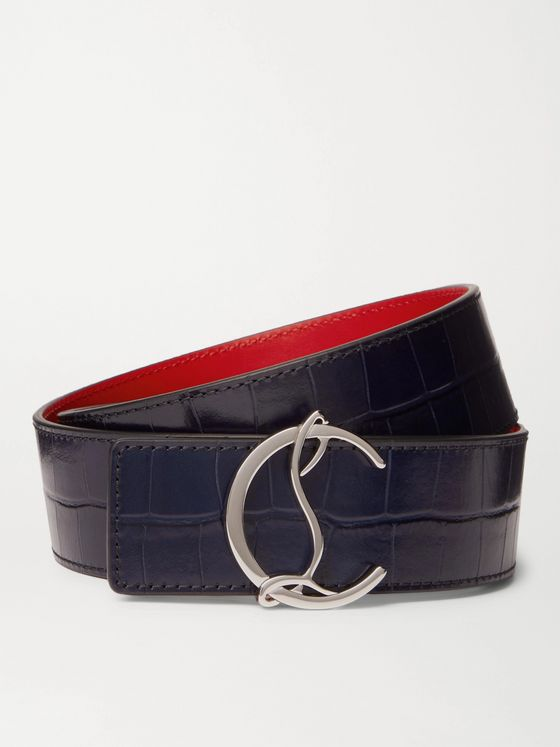 CHRISTIAN LOUBOUTIN 4cm Croc-Effect Leather Belt