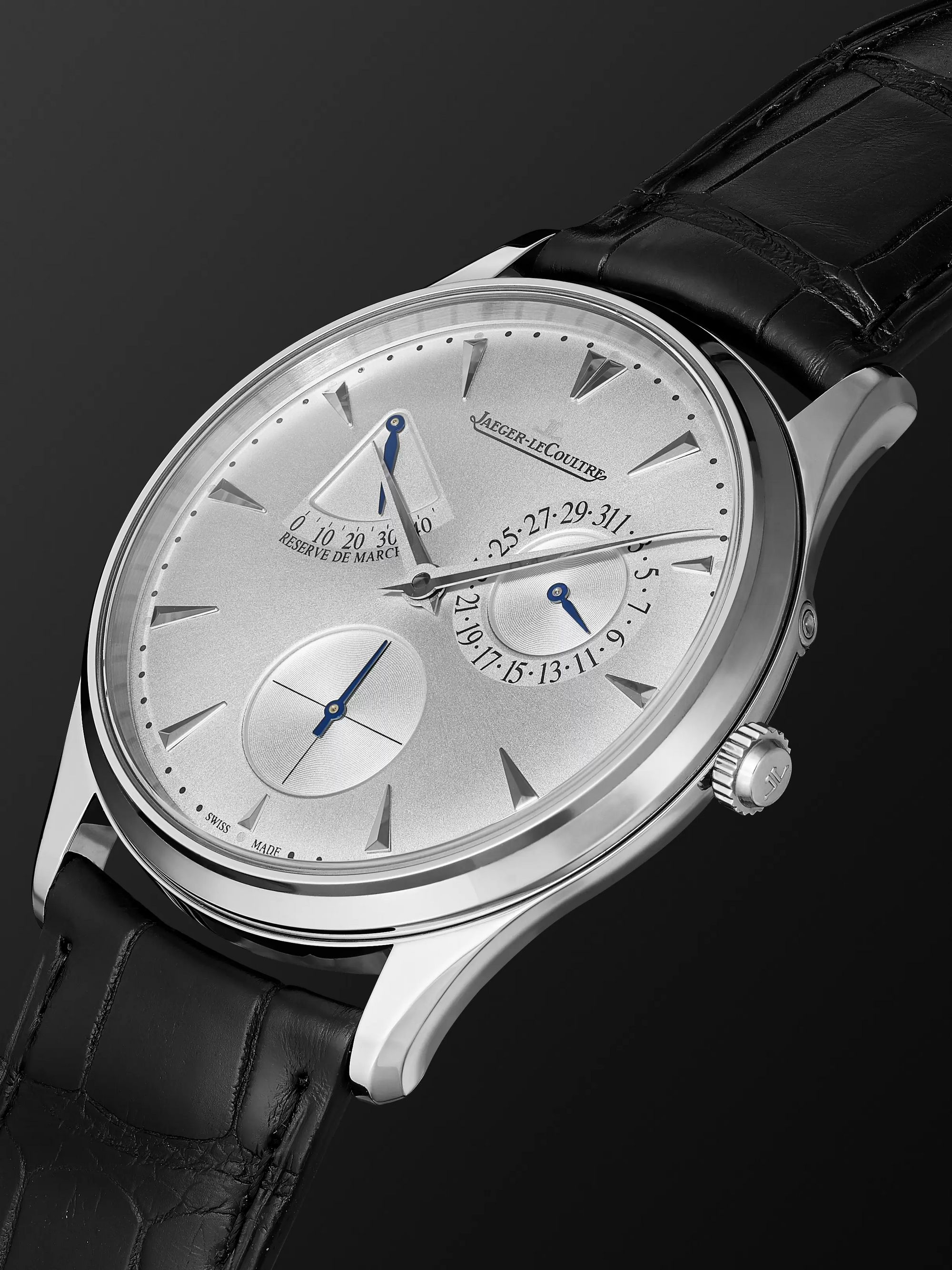 JAEGER-LECOULTRE Master Ultra Thin Réserve De Marche Automatic 39mm Stainless Steel and Alligator Watch, Ref No. Q1378420