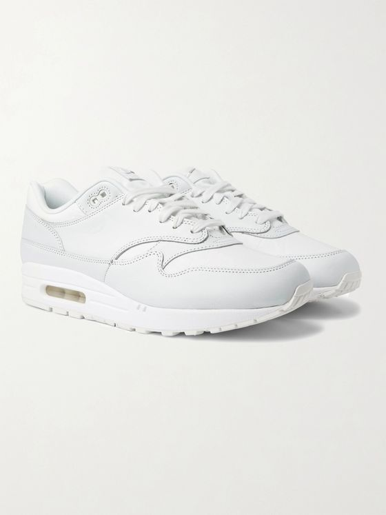 NIKE Air Max 1 Embroidered Debossed Leather Sneakers