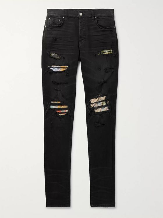 AMIRI Hawaiian Thrasher Skinny-Fit Distressed Stretch-Denim Jeans