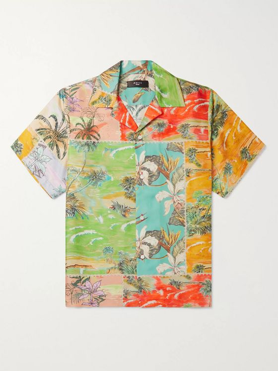 AMIRI Camp-Collar Floral-Print Silk-Twill Shirt
