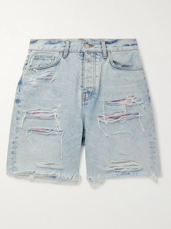 AMIRI Thrasher Panelled Distressed Denim Shorts