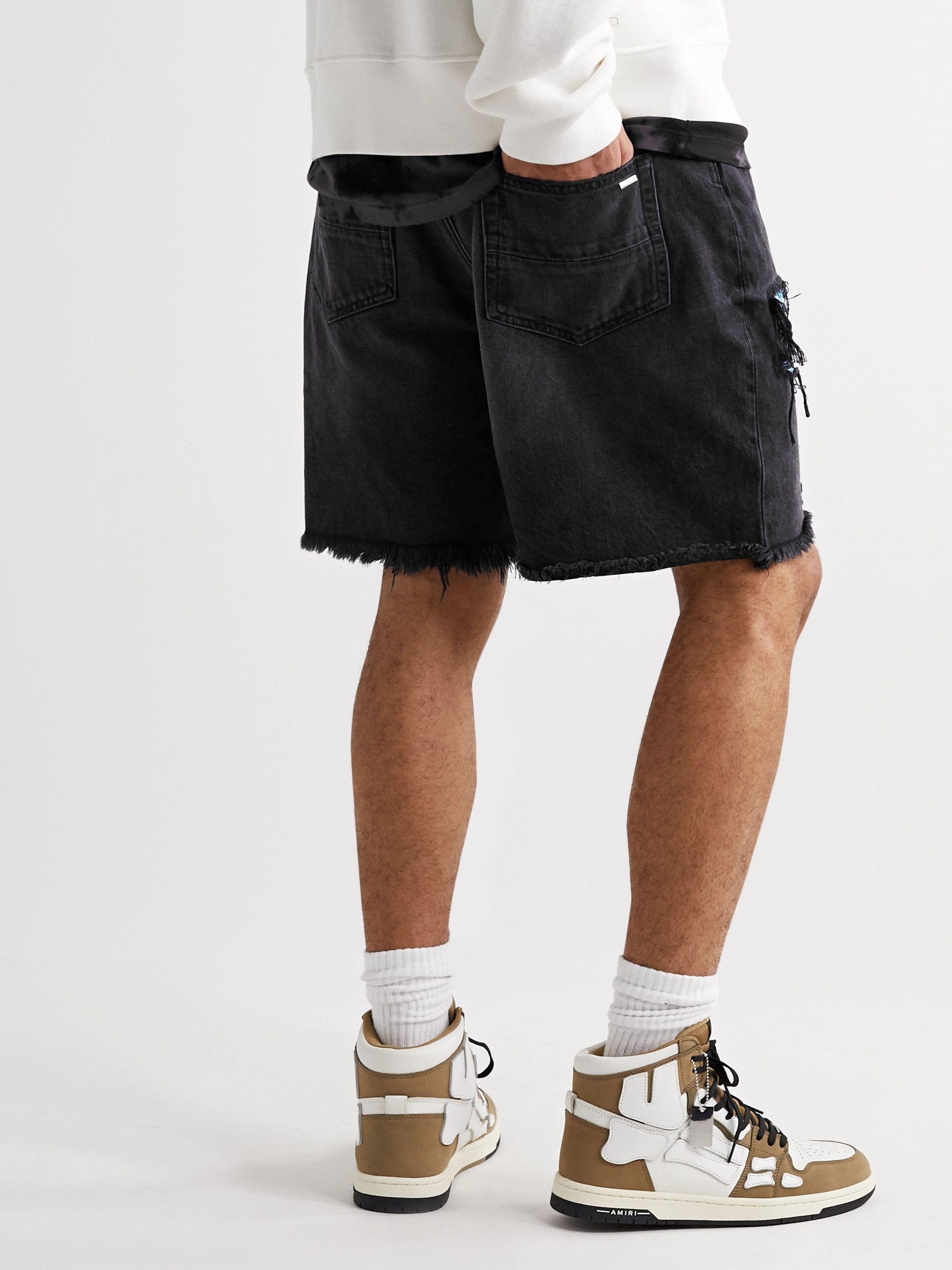 Black Thrasher Panelled Slim-fit Distressed Denim Shorts   Amiri