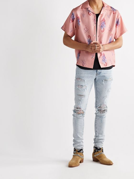 AMIRI Hawaiian Thrasher Skinny-Fit Distressed Bleach-Splattered Stretch-Denim Jeans
