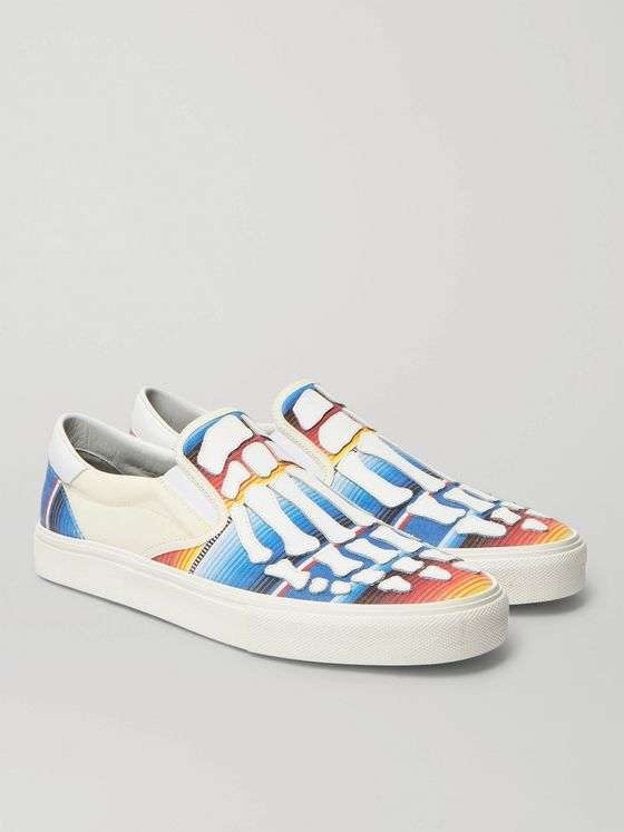 AMIRI Baja Skel-Toe Canvas and Leather Slip-On Sneakers