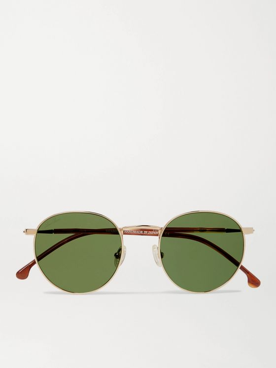 Loro Piana Weekend Round-Frame Gold-Tone Titanium and Acetate Polarised Sunglasses
